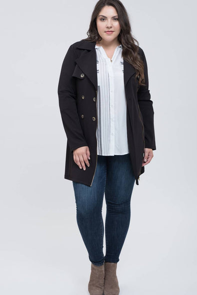 Plus Size Trench-Style Jacket