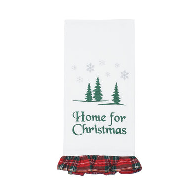 Home For Christmas Tea Towel w/ Plaid Trim