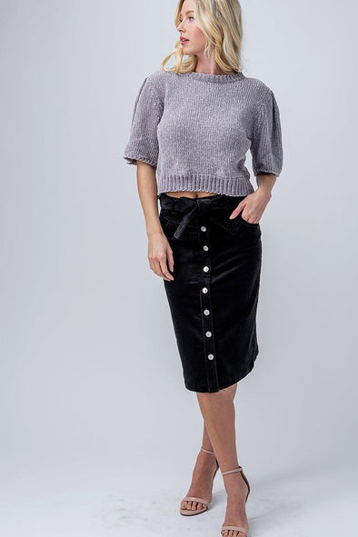 Belted Corduroy Buttoned Midi Skirt
