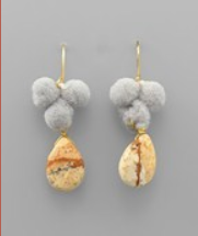 earring, pom stone dangle Grey