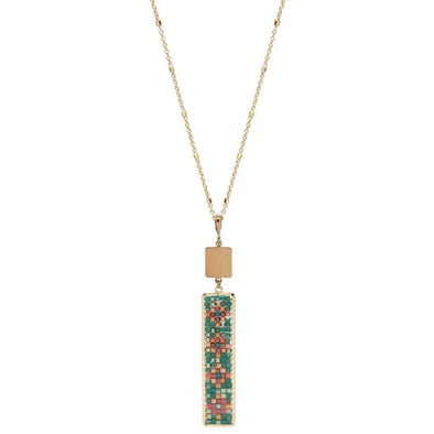 Seed Bead Design Bar Pendant Long Necklace