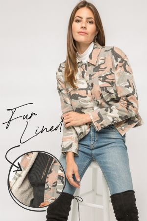 Camo Fur Lined Jacket