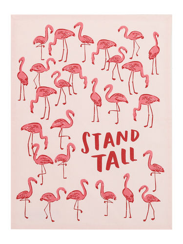 tea towel, stand tall flamingo