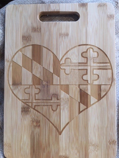 MD Flag Heart Large Cutting Board