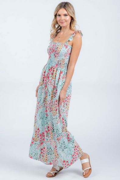 Coral Reef Floral Smocked Maxi