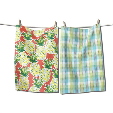 teatowel, pineapple set of 2