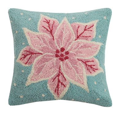 Pink Poinsettia Hook Pillow