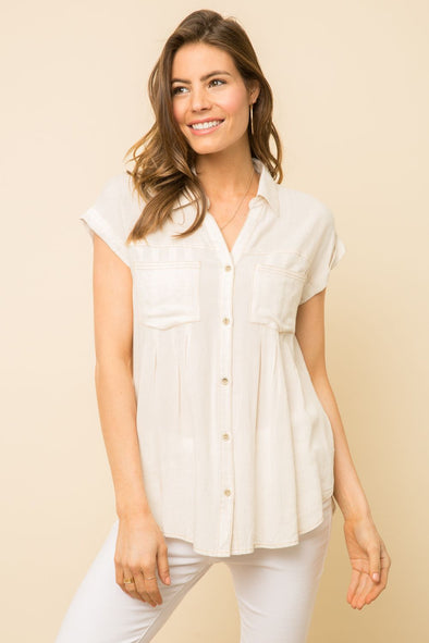 Contrast Stitch Button-Down