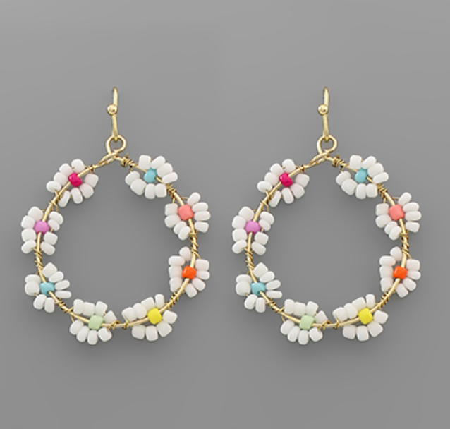 Sibyl Seed Bead Flower Circle Earrings