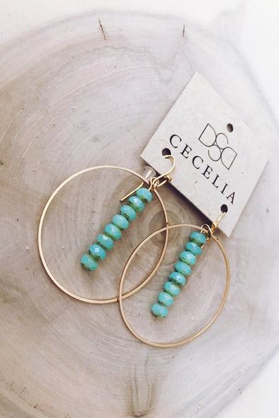 Gemstone Drop Hoop Earring