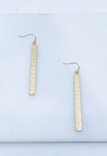 Hampden Hammered Bar Earrings