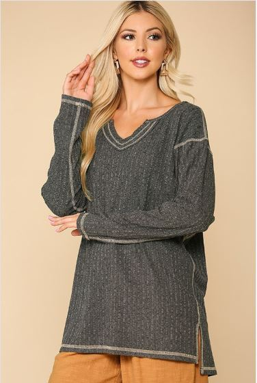 Drew Ribbed Tunic Top