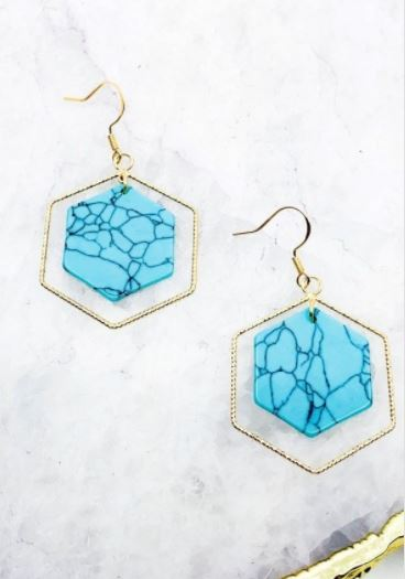 Delta Hexagon Stone Earrings