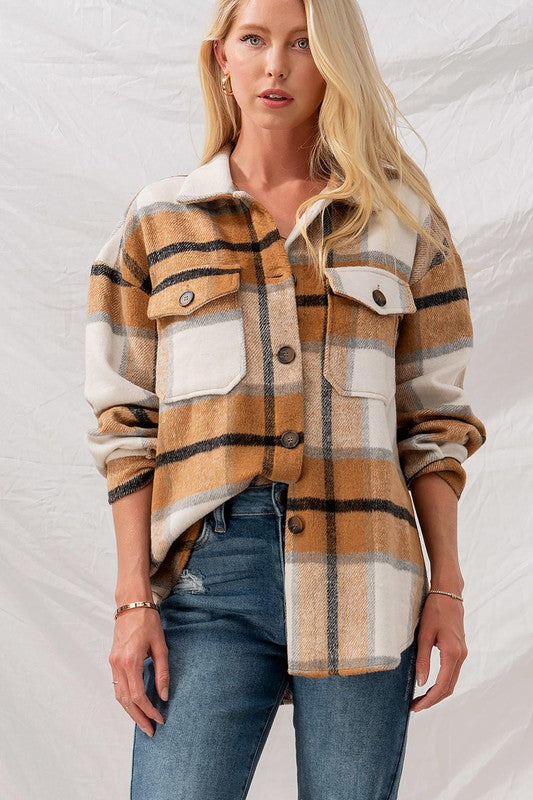 Checkered Oversized Button Down Jacket Brown