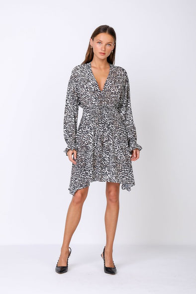 SALE Long Sleeve Print Dress