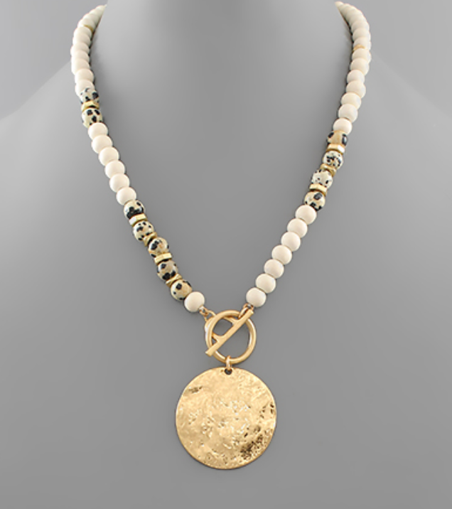 Kimmy Hammered Disk Bead Toggle Necklace