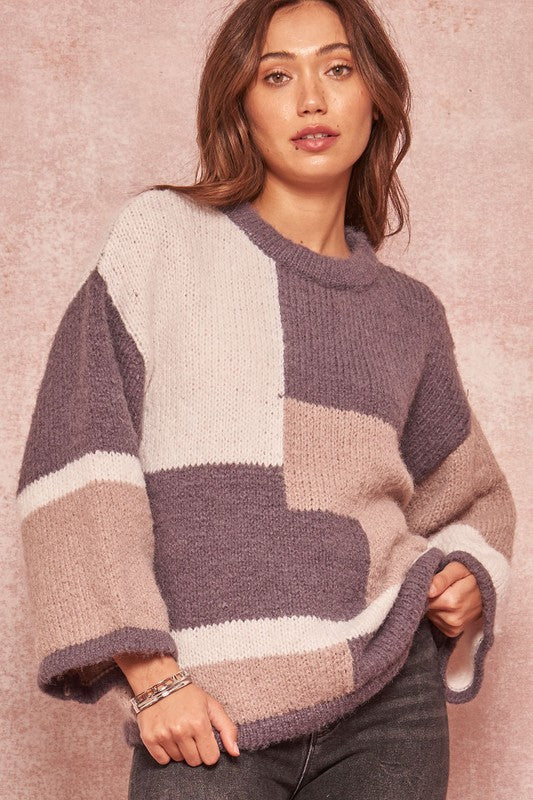 Wide Sleeve Color Block Sweater