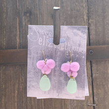 Load image into Gallery viewer, earring, pom stone dangle Lavender