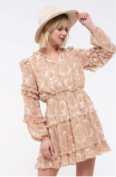 Paisley Ruffled-Tiered Dress