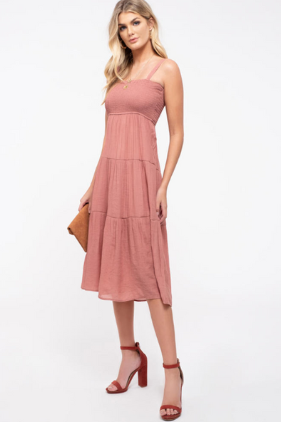 Smocked Tiered Midi-Dress
