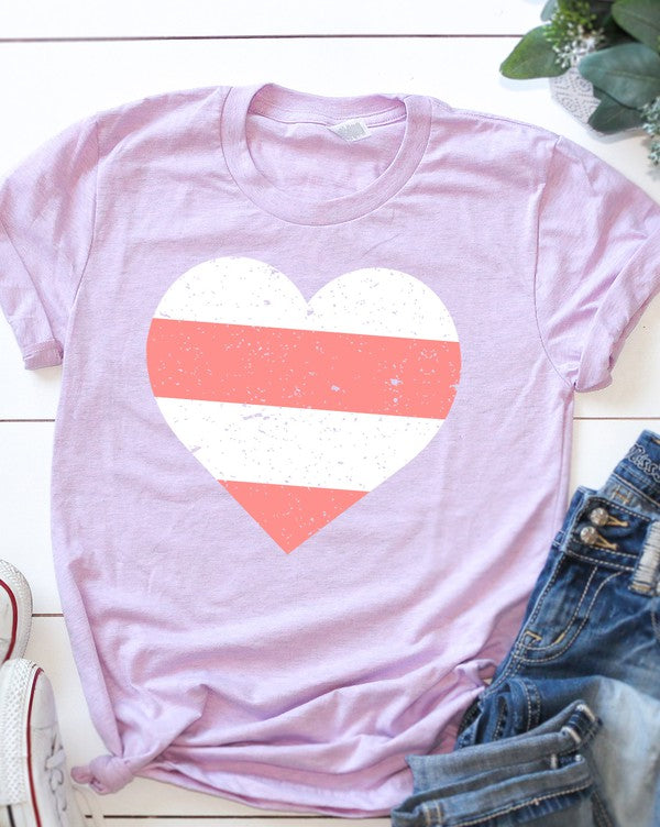 Plus Striped Heart Graphic Tee