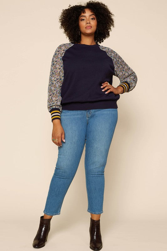 Plus Floral Sleeve Sweater