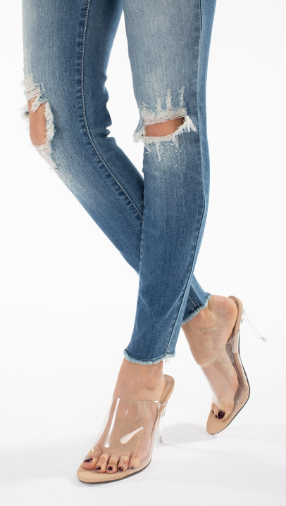 Tangled Up in Blue Distressed Skinnies