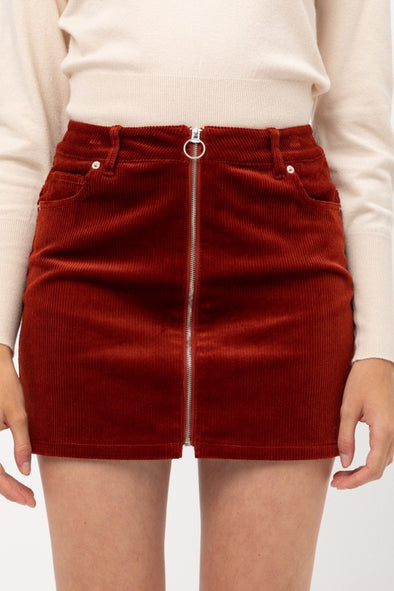 High Waist Corduroy Mini Skirt