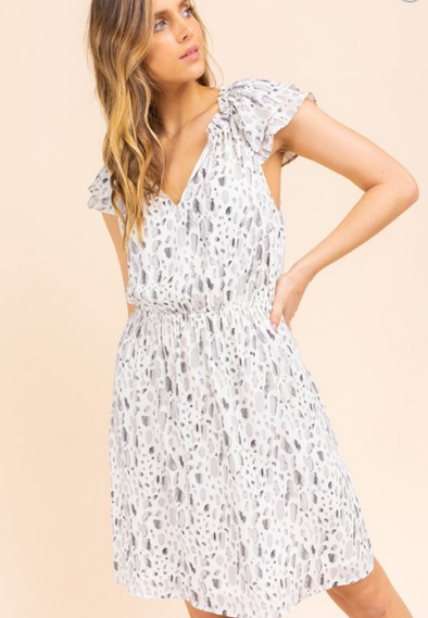 SALE Ruffle Print Dress
