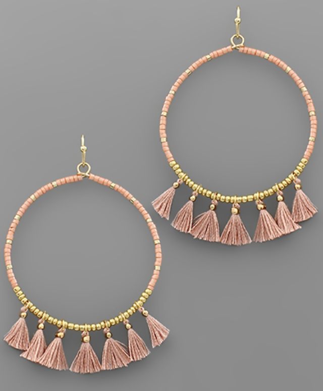 Tatiana Tassel Bead Circle Earrings