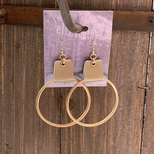 Load image into Gallery viewer, earring, faux leather cuffed Gold/Gold