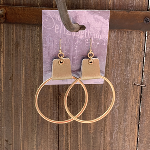 earring, faux leather cuffed Gold/Gold
