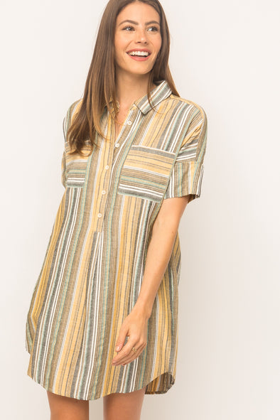 Carson Striped Shirt Dress