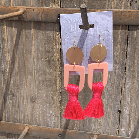 earring, gold disc tassel  Pink
