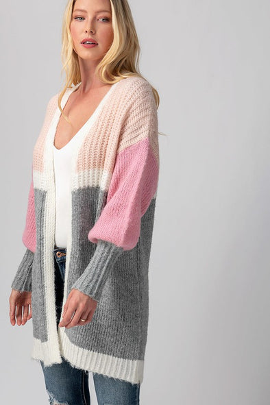 Color Block Knit Puff Sleeve Color Block Cardigan