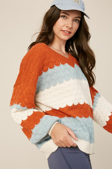 Mandy Scallop Striped Sweater