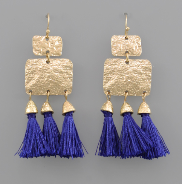 Viola Textured & Tassel Dangle Earrings