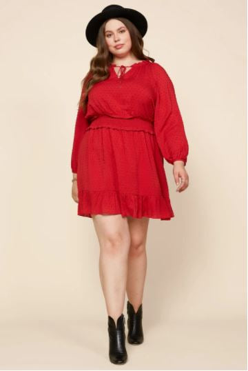 Loretta Swiss Dot Ruffle Dress