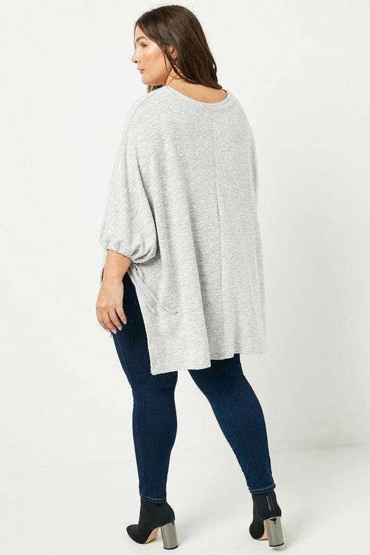 Plus Side Tie Knit Poncho Top