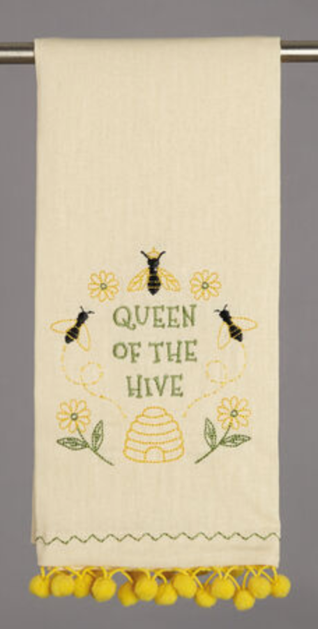 Queen of The Hive Pom Pom Kitchen Towel