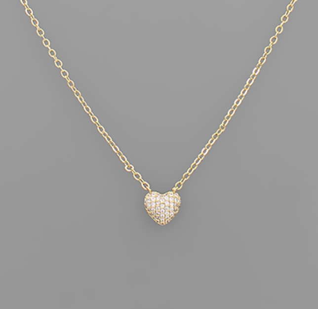 Val CZ Heart Necklace