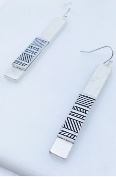 Asheville Etched Bar Earrings