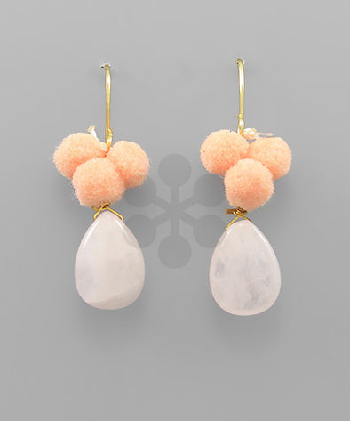 earring, pom stone dangle Peach