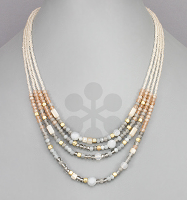 Nolani Gray/Peach Beaded Necklace
