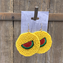 Load image into Gallery viewer, earring, beaded disc with watermelon Yellow