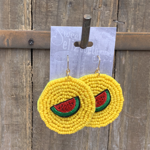 earring, beaded disc with watermelon Yellow