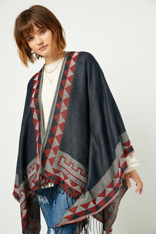 Printed Poncho With Tassel Fringes