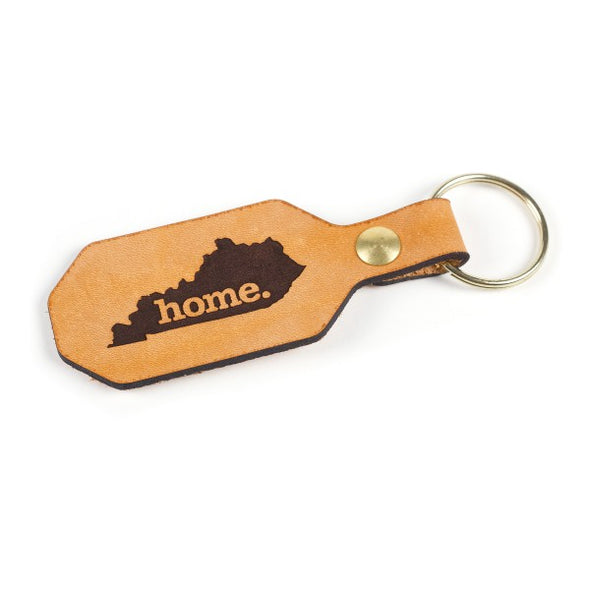 Leather Home State Keychain