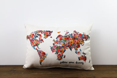 Floral World Map Pillow