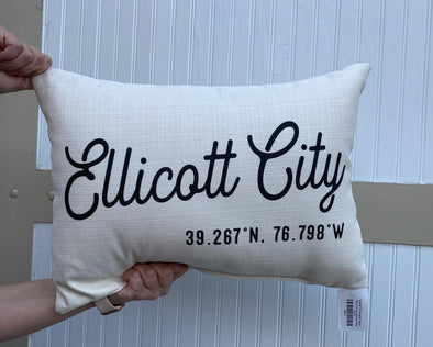 Ellicott City Coordinates Pillow